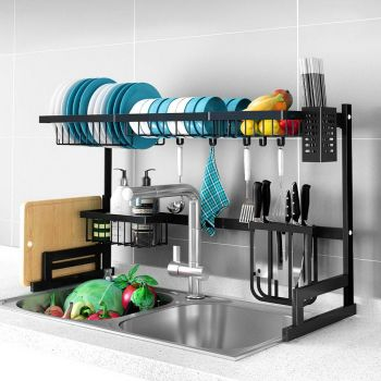 2-Tier 85cm Stainless Steel Kitchen Shelf Organizer Dish Drying Rack Over Sink