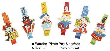 WOODEN PIRATE PEG 6PCS PER SET
