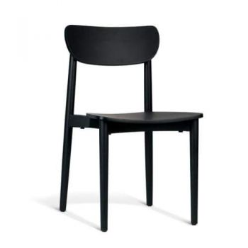 Nord Notodden Dining Chair - Black Frame - Black Timber Seat