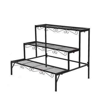 Levede Plant Stand Indoor Outdoor 3 Tier Rectangle Style in Black Colour
