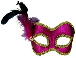 Masquerade Mask - Pink/Gold w/Feathers