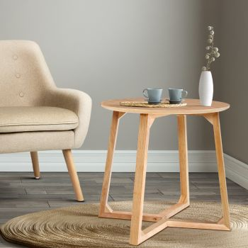 Coffee Table Round Side Tables Nightstand Bedside Furniture Wooden Beige