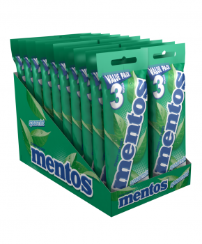 Mentos Spearmint Candy Roll, 3 Pack x 20