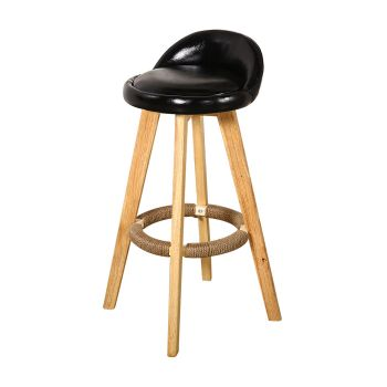 2x Levede Leather Industrial Swivel Chair Bar Stools in Black
