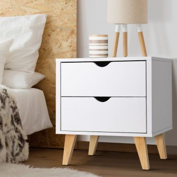 Bedside Tables Drawers Side Table White Nightstand Storage Cabinet Unit