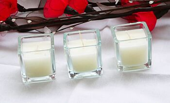 24 Pack - Clear 5cm Square Cube Glass White Table Candle - wedding event party decoration