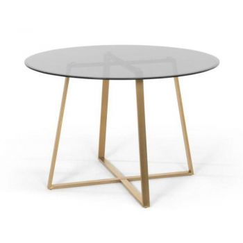 Akira Round Glass Dining Table 110cm - Smoked Glass Top - Gold Legs