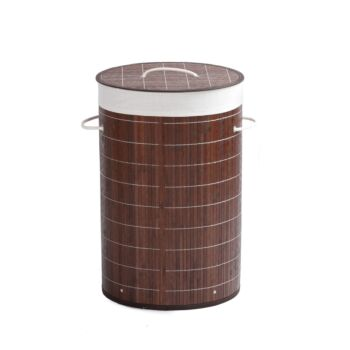 Sherwood Home Round Folding Bamboo Laundry Basket Hamper with Lid Natural Bamboo - D38xH60cm