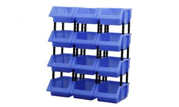 6 Plastic Spare Storage Warehouse Organiser Bins in Extra Large in Blue