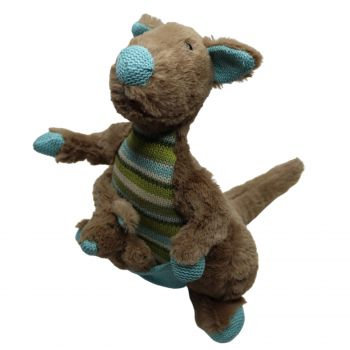 Plush Toy Kanagroo & Baby Joey - Blue/Green