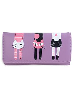 Large Cat Wallet Purple Fashionable Cat Lover With Printed Cat Design Per-Fect For A New Ladies Girls Purse Wallet