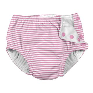 Snap Reusable Absorbent Swimsuit Diaper-Light Pink Pinstripe