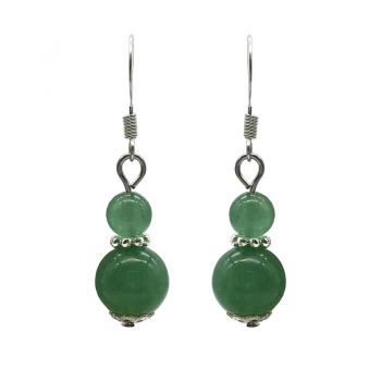 6-10mm Natural Round Green Aventurine Silver Plated Drop Earrings
