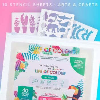 Card Making and Rock Painting Stencil 10 sheets (Pack 1)