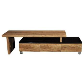 Charlene Extendable TV Stand Cabinet Entertainment Unit - High Gloss Black Body - Antique Oak Top and Drawers