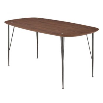 6IXTY2 Scandinavian Wooden Dining Table Small 180cm - Metal Legs - Walnut Satin