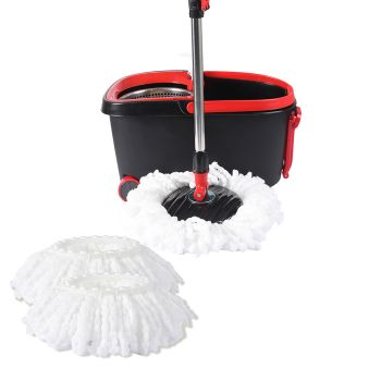360∞ Spin Mop Bucket Set Spinning Stainless Steel  Wet in Black