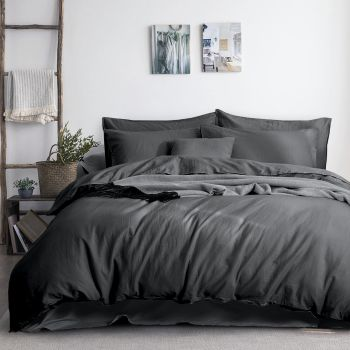 Queen Size 3PC Linen Cotton Quilt Cover Sets in Charcoal