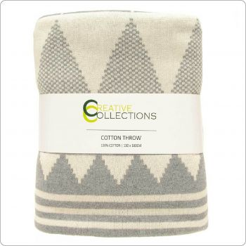 Luxury Cotton Knitted Throw 130x180cm Light grey-Natural