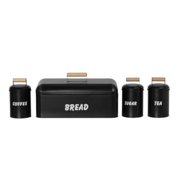 Sherwood Home Bread Box and 3 Canister Set with Natural Bamboo Lids - Charcoal/Brown