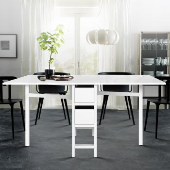 Dining Table Extendable Folding Tables Drawers Storage White Restaurant