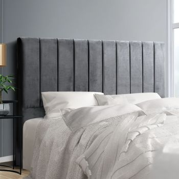 Artiss KING Size Bed Head Headboard Bedhead Velvet Frame Base SALA Grey