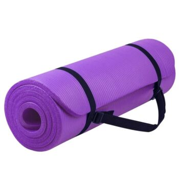 15MM NBR Yoga Mat Thick Nonslip Pad Fitness Wide Exercise Pilate Gym Strap Bag Purple