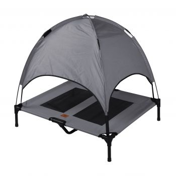 Charlies Elevated Pet Bed With Tent Light Grey Large
