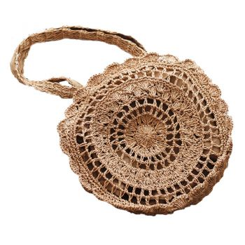 Bag - Hand Woven Tote - Mandala Natural - 40x40