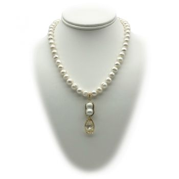8-9mm Natural Potato & Baroque Freshwater Pearl with Swarovski® Teardrop Charm Pendant Necklace