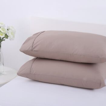 Dreamaker 250Tc Plain Dyed Standard Pillowcases - Twin Pack - 48X73Cm Moonrock
