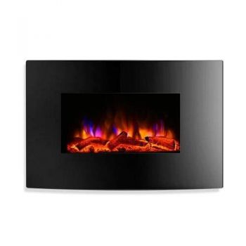 Devanti 2000W Wall Mounted Electric Fireplace Fire Log Wood Heater Realistic Flame