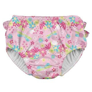 Ruffle Snap Reusable Absorbent Swimsuit Diaper-Light Pink Dragonfly Floral
