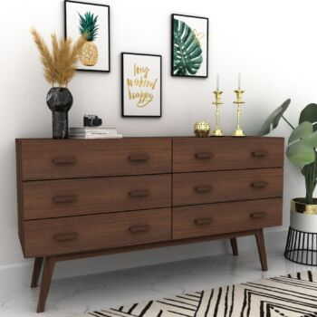 Cosmoliving Buffet Sideboard Cabinet Chest of 6 Drawers Tallboy Dresser Console Table W140