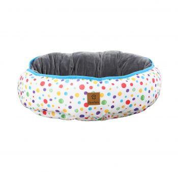 Charlie's Pet Reversible Oval Pad Bed - Rainbow Dots Small