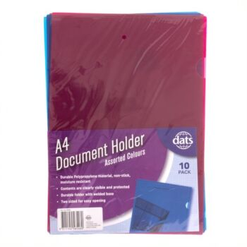 Document File Holder A4 Mixed Coloursours 10 Pack