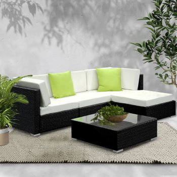 Outdoor Lounge Setting Furniture Sofa Bed 5PC Set Wicker Rattan Couch w/ Cover Garden Patio Pool Lounger Cushions Seat Table Gardeon