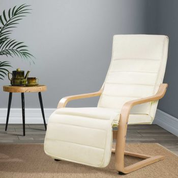Bentwood Armchair Adjustable Wooden Recliner Lounge Fabric Cushion Beige