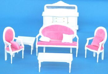 Wooden White Living Room with Pink Sofa Furniture Set