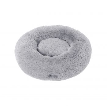 Charlie's Faux Fur Fuffy Calming Pet Bed Nest Large Silver