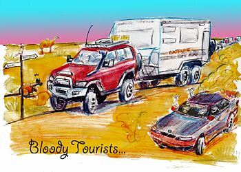 """Greeting Card """"Bloody Tourists"""" Pack of 6"""