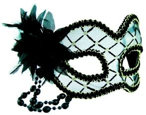 Masquerade Mask - Black & Clear w/Flowe