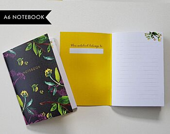 Black Floral - lined notebook 52 pages A6
