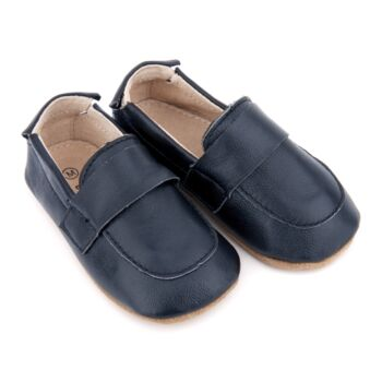 SKEANIE Leather Pre-Walker Loafers Shoes in Navy