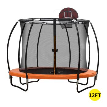 12FT Trampoline Round Trampolines Kids Enclosure Outdoor Safety Net Basketball