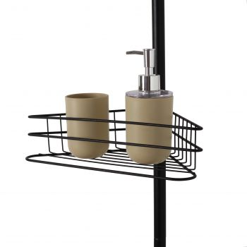 Sherwood Adjustable 4 Tier Corner Shower Rack - Black