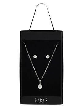 Barcs Australia Freshwater Pearl Women's Ivory and Silver Plated Necklace and Earring Set
