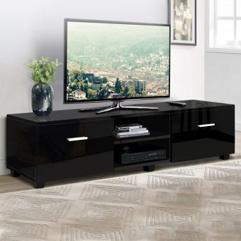 TV Cabinet Entertainment Unit Stand High Gloss Storage Shelf 140cm Black