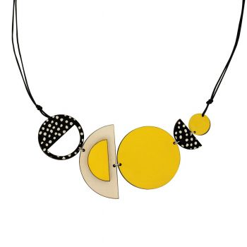 Circles and spots statement wooden necklace in yellow