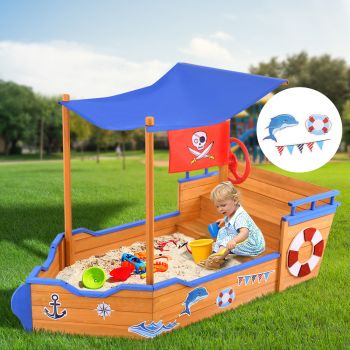 Sandpit Toy Box Kids Canopy Sand Pit Outdoor Wooden Play Set Large Seat